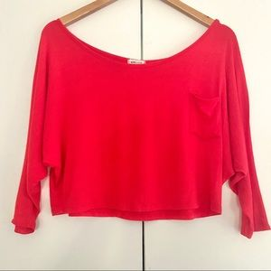 Sporty Red Crop Top w/ 3/4 Length Sleeves & Pocket